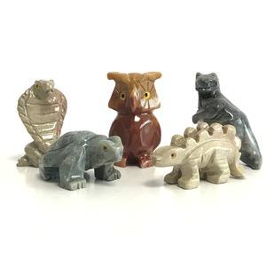 【ミニ動物 アニマルの置物5点セット】T05 天然石 ソープストーンのお守り 動物の形したミニチュア ハンドメイド彫刻 ペルー製