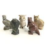 【ミニ動物 アニマルの置物5点セット】T06 天然石 ソープストーンのお守り 動物の形したミニチュア ハンドメイド彫刻 ペルー製