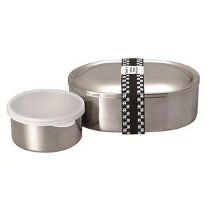 富士ホーロー 弁当箱 ランチボックス ステンレス製 オーバルランチBOX デザートカップ付 - 拡大画像