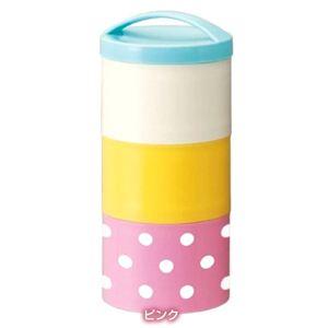 ランチボックス ボトル型 3段 コンビネーションカラー水玉 ピンク - 拡大画像