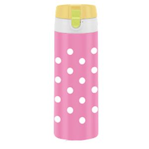 ステンレスマグボトル 350ml コンビネーションカラー水玉 ピンク - 拡大画像