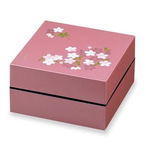 お重・お弁当箱 ランチボックス 宇野千代 オードブル重 2段 あけぼの桜 ピンク - 拡大画像