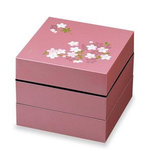 お重・お弁当箱 ランチボックス 宇野千代 オードブル重 3段 あけぼの桜 ピンク - 拡大画像