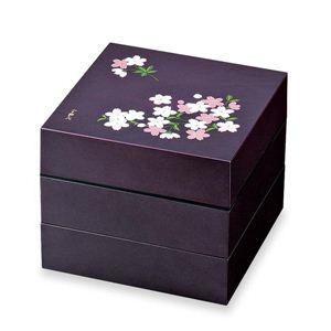 お重・お弁当箱 ランチボックス 宇野千代 オードブル重 3段 あけぼの桜 紫 - 拡大画像