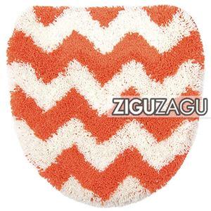 オカトー トイレフタカバー ZIGUZAGU 洗浄便座用 トイレカバー オレンジ - 拡大画像