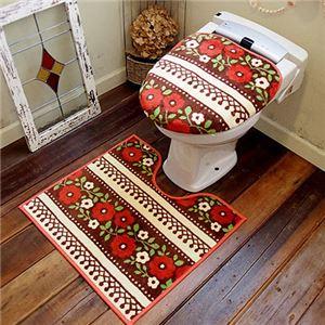 オカトー HOKUORU トイレ2点セット 洗浄・暖房用 チロリアンフラワー - 拡大画像