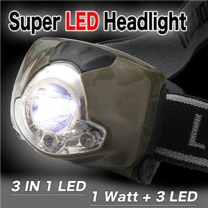 遂に登場 SLED1w+高輝度LED3灯採用 SuperLED スーパーLEDヘッドライト 1点 - 拡大画像