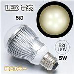 長寿命で明るい!省エネで経済的!E26口金 LED電球 110V 5W 白色/暖色 暖色 1点