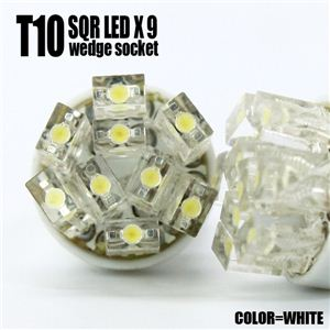 LED9個を開花型に配置 ポジション球、ナンバー球に T10 開花型9連ウェッジ球 白 2個セット 1点 - 拡大画像