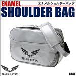 デザイン、機能性抜群!進化するスポーツバッグ。エナメルショルダーバッグ/3色 1点 灰色地/ブラック