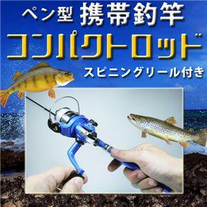 思い立ったらすぐ本格フィッシング! ペン型携帯釣竿 コンパクトロッド(スピニングリール付き) シルバー 1点 - 拡大画像