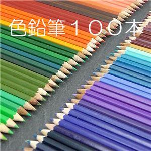 【豊富な色彩】塗り絵やスケッチなどに カラフル色えんぴつ100本 携帯ケース入り 1セット(多少重複色あり) - 拡大画像