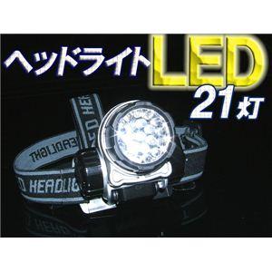 防災・アウトドア・夜釣りに 高輝度LED採用 LED21灯ヘッドライト 黒 1点 - 拡大画像
