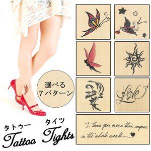 タトゥー タイツ Tattoo Tights 20デニール ユリ柄 SJT023 - 拡大画像