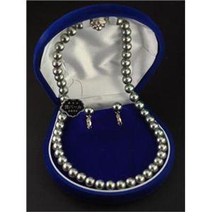 <日本製>国内産高級黒本貝パールフォーマルセット(ネックレス、イヤリングセット) 1セット1組(ネックレスとイヤリングのセット)+単品18金ポストピアス付き - 拡大画像