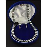 <日本製>国内産高級黒本貝パールフォーマルセット(ネックレス、イヤリングセット) 1セット1組(ネックレスとイヤリングのセット)+単品18金ポストピアス付き