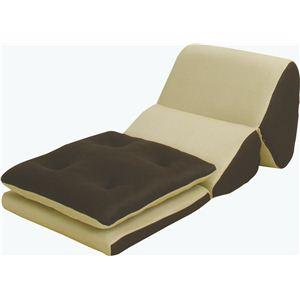 TV枕(テレビ枕)座布団付き オルセン FCC-118BE ベージュxブラウン - 拡大画像