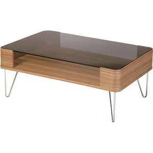 コーヒーテーブル 長方形 スチール/強化ガラス製 棚収納付き PT-581ZB - 拡大画像