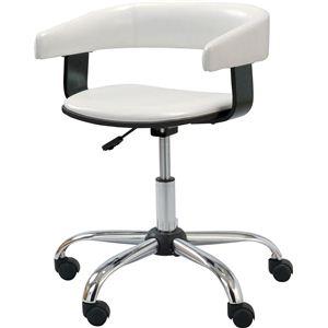 デスクチェア(椅子) スチール/ソフトレザー 昇降・回転式 肘掛け RKC-261WH ホワイト(白) - 拡大画像