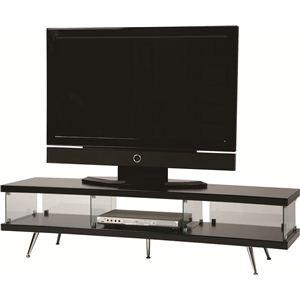 テレビ台/テレビボード 木製/強化ガラス 収納棚付き SO-66BK ブラック(黒) - 拡大画像