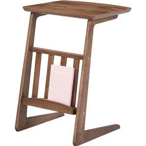 ソファサイドテーブル 【Tomte】トムテ 木製(天然木) 棚収納付き TAC-239WAL - 拡大画像