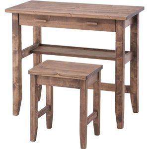 おしゃれでシンプルなミラー・ドレッサー 【ぬくもり家具】天然木 オイル仕上げ デスク&スツール 2点セット