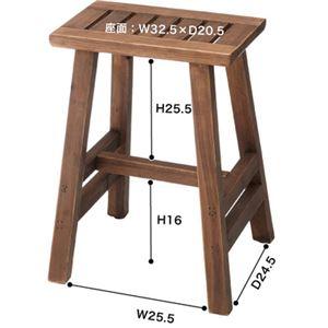ベンチ(ソーレ ワイドスツール) 木製 (カントリー雑貨&家具) LFS-491BR ブラウン の画像