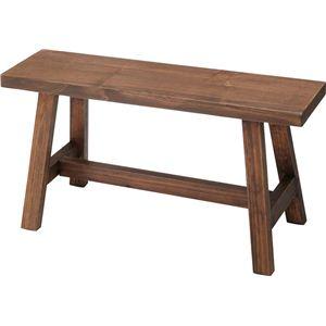 ベンチ(ソーレ ワイドスツール) 木製 [カントリー雑貨&家具] LFS-492BR ブラウン - 拡大画像