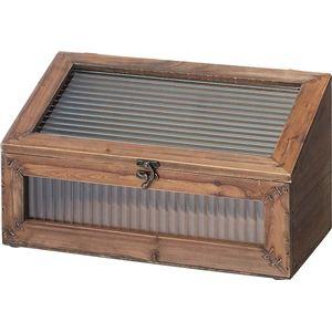 ジャンクインテリア 通販の部屋作りに ソーレ ガラスミニラック 木製/波板ガラス [カントリー調雑貨] LFS-496BR ブラウン