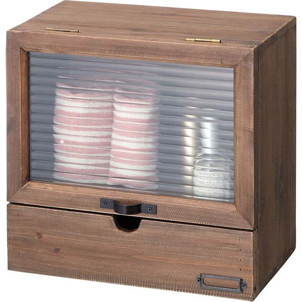 おしゃれでシンプルなインテリア雑貨 ソーレ ガラスミニラック 木製/波板ガラス 引き出し収納付き [カントリー調雑貨] LFS-497BR ブラウン