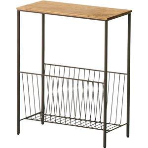 木製サイドテーブル 木製/アイアン 収納棚付き AKB-425BR ブラウン 【完成品】 - 拡大画像