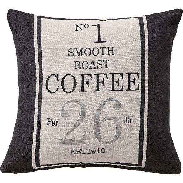 ジャンクインテリア 通販の部屋作りに プリントクッション コーヒー袋柄 正方形 45cm×45cm コットン (綿)入り [インテリア雑貨] TTC-104