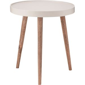 サイドテーブル(トレーテーブル) 木製 丸型 大(Lサイズ) NW-724 ホワイト(白)