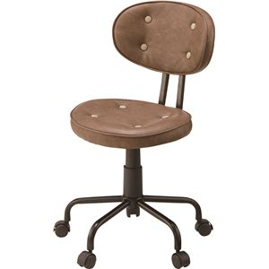 (2脚セット)東谷 デスクチェア(椅子) 昇降機能付き スチール/ソフトレザー KGI-109BR ブラウン - 拡大画像
