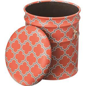 ペール缶スツール(収納付きスツール) スチール (インテリア家具) JAM-236OR オレンジ - 拡大画像