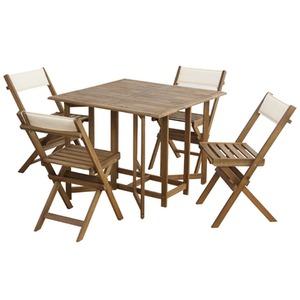 収納式ダイニングテーブル&チェア5点セット【クリコ】 室内・屋外兼用 NX-930 - 拡大画像