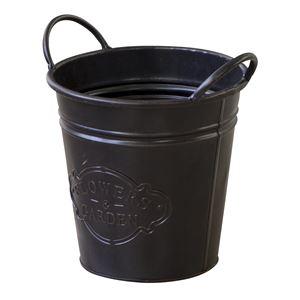 おしゃれな部屋作りに バケツS (小) アンティーク仕様 スチール [インテリア雑貨/ガーデン] ELF-512S ブラック(黒)