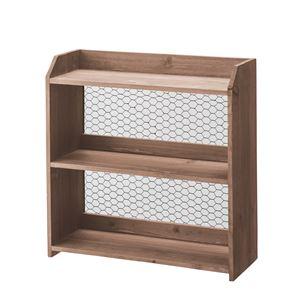 木製ラック/収納棚 【2段】 幅40cm×奥行15cm 金網/S字フック付き CCR-120 の画像