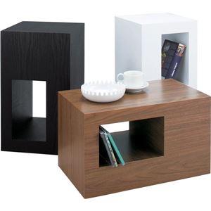 シンプルサイドテーブル/スツール 【幅28cm】 木目調 ウォールナット 『セル』 CEL-70WAL