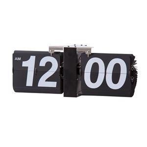 フリップクロック/デザイン時計 【ブラック】 掛け型・置き型対応 幅36cm×奥行8.5cm×高さ14cm CLK-118BK
