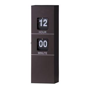 フリップクロック/デザイン時計 【ブラウン】 掛け型・置き型対応 幅12cm×奥行6cm×高さ33.5cm CLK-119BR