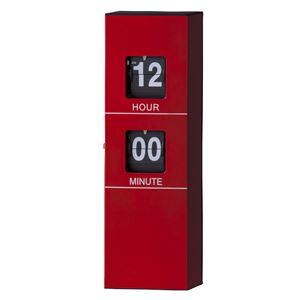 フリップクロック/デザイン時計 【レッド】 掛け型・置き型対応 幅12cm×奥行6cm×高さ33.5cm CLK-119RD