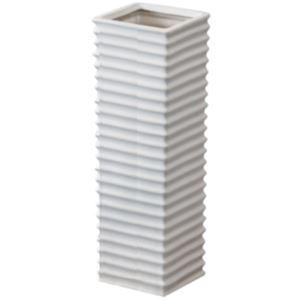 陶製傘立て/アンブレラスタンド 【ホワイト】 幅15cm×奥行15cm×高さ45cm 陶器 『フロット』 LFS-113WH