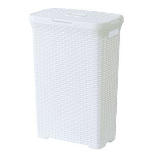 蓋付きランドリーボックス/ランドリーバスケット 【ホワイト】 幅44.5cm×奥行26.5cm×高さ62cm スリム 『アミー』 LFS-693WH