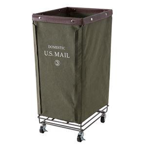 ランドリーバスケット/洗濯かご 【幅33cm×奥行43cm】 グリーン キャスター付き スチール 『USメール』 MIP-87GR