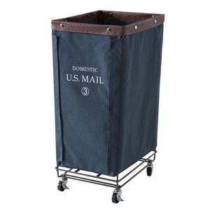 ランドリーバスケット/洗濯かご 【幅33cm×奥行43cm】 ネイビー キャスター付き スチール 『USメール』 MIP-87NV