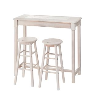 木製カウンターテーブル/コーヒーテーブル 【スツールセット】 幅95cm ホワイト NET-588WH の画像