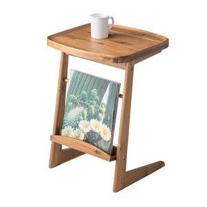 木目調サイドテーブル/ミニテーブル 【幅42cm】 木製 天然木/アカシア NET-724