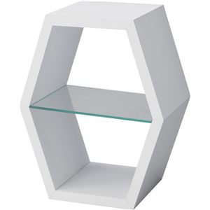 パズルラック/デザイン収納棚 【ハコゾーL ホワイト】 幅41cm 強化ガラス棚 NWS-512WH 〔インテリア家具 ディスプレイ用品〕 - 拡大画像