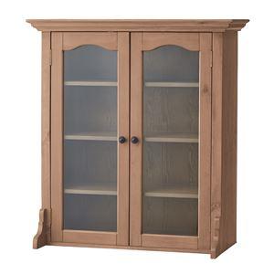 天然木カップボード(食器棚/キッチン収納) B 幅85cm×奥行40cm ガラス扉付き木目調 PM-615B